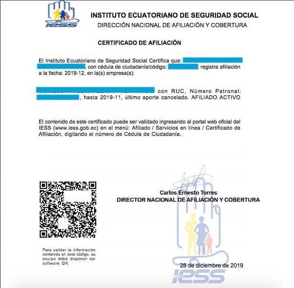certificado de afiliacion al IESS