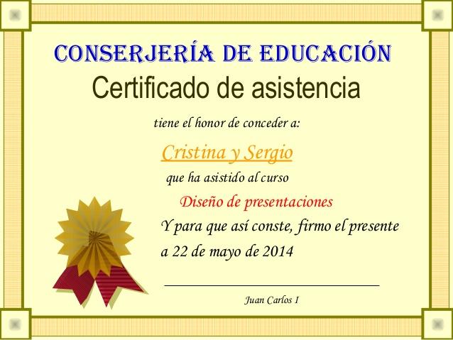 Certificado de asistencia al taller
