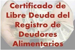 Certificado de Libre Deuda del Registro de Deudores Alimentarios