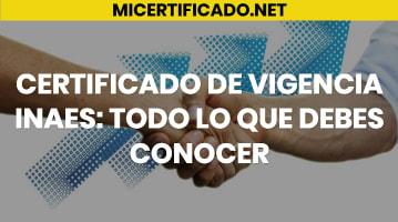 Certificado de Vigencia INAES