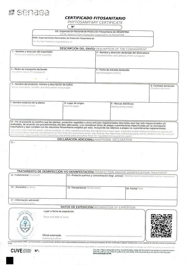 Ejemplo de Certificado Fitosanitario