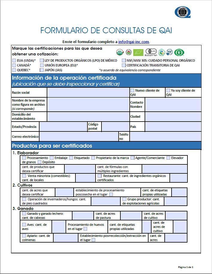 Solicitud para certificado USDA