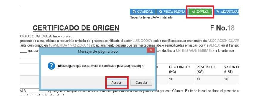 paso 6 verificacion certificado de origen