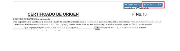 ver bitacora certificado de origen