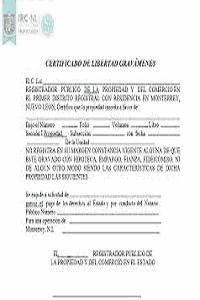 certificado de libertad de gravamen. ejemplo