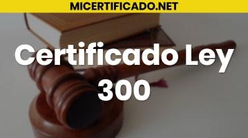 Certificado Ley 300