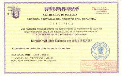 certificado solteria panama