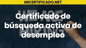 Certificado de búsqueda activa de desempleo