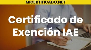 Certificado de Exención IAE