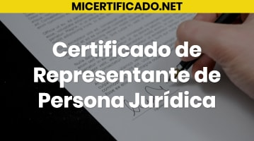 Certificado de Representante de Persona Jurídica