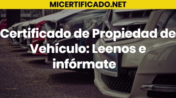 Certificado de Propiedad de Vehículo
