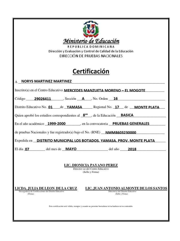 Certificado de Octavo Norys Martinez Martinez   Educación avanzada   Enseñando y aprendiendo