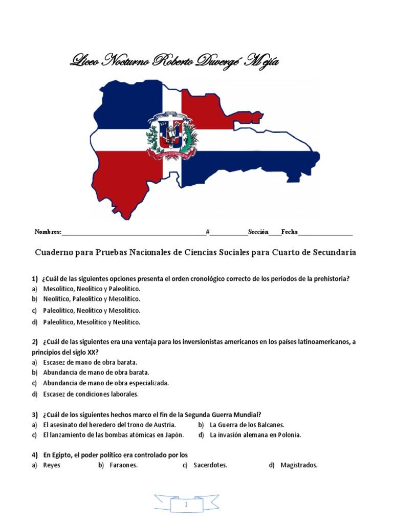 Cuaderno Para Pruebas Nacionales de Ciencias Sociales Para Cuarto de Secundaria   República Dominicana   España