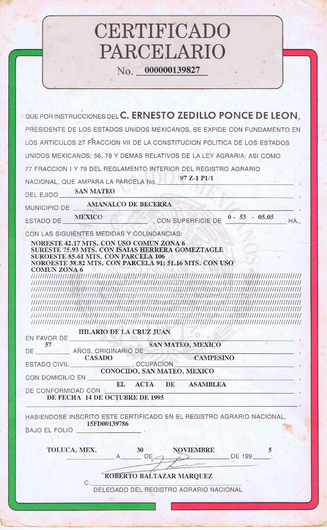 Resultado de imagen de Imagenes Certificado parcelario mexico